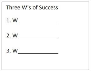 3 Ws of Success