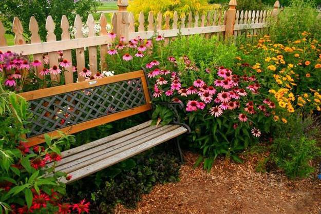 flower garden bench