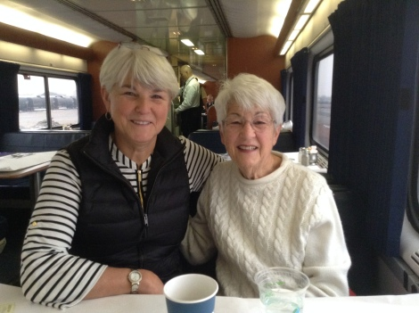With my mom on the train