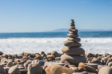 Stacked rocks on shore