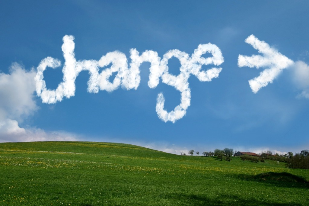 "Clouds spelling the word ""Change"""