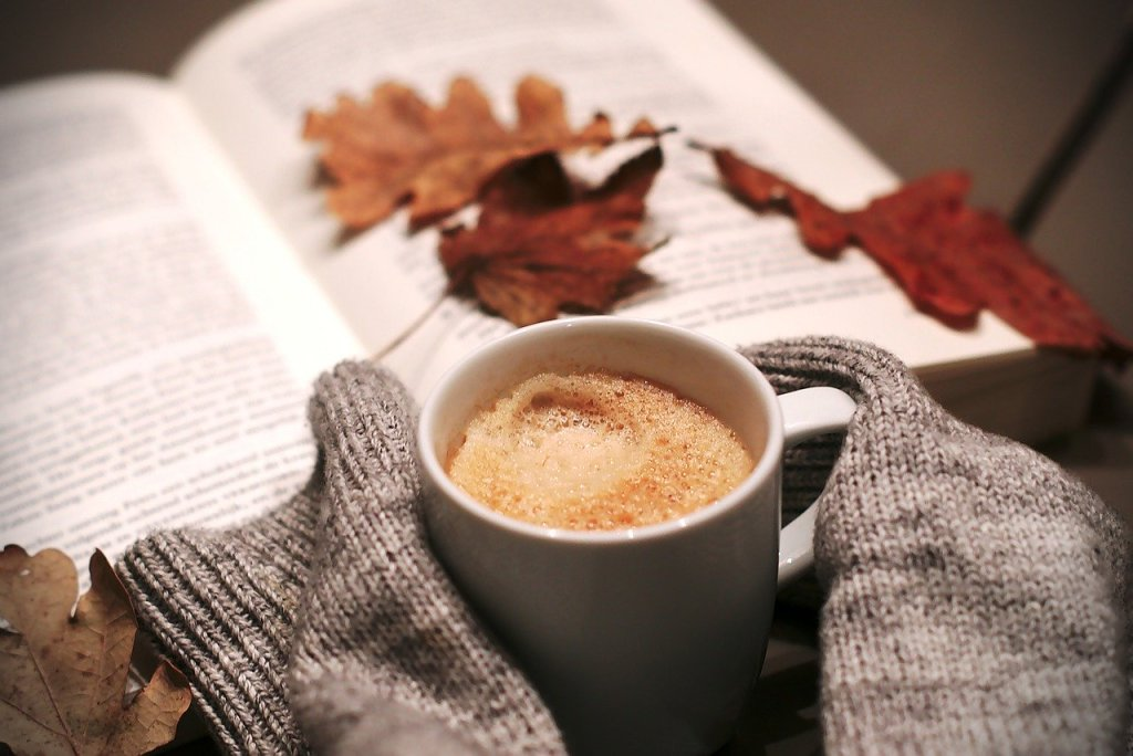 Fall coffee and book