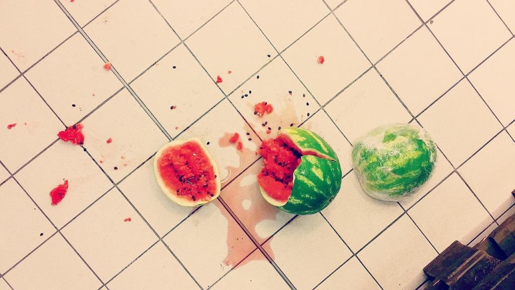 broken watermelon on floor