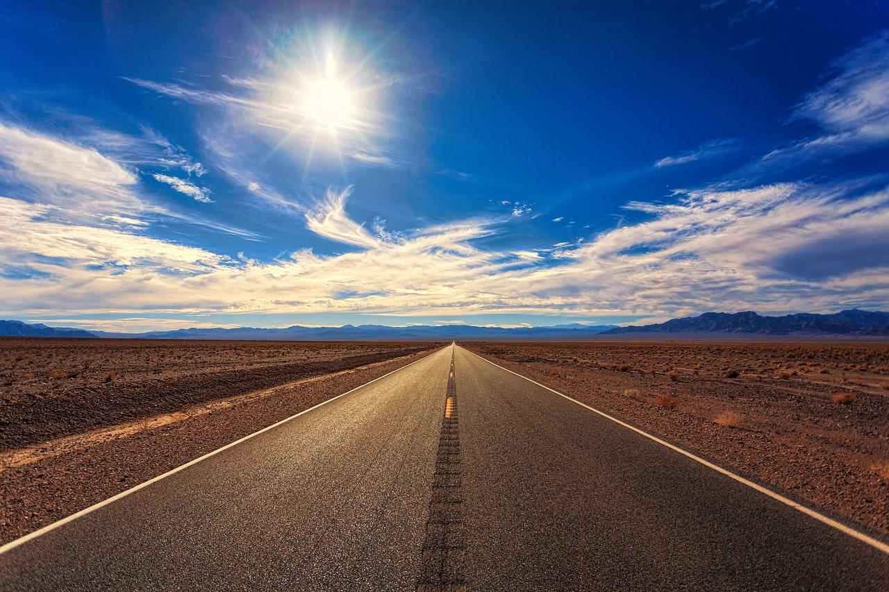 dessert road and sunshine